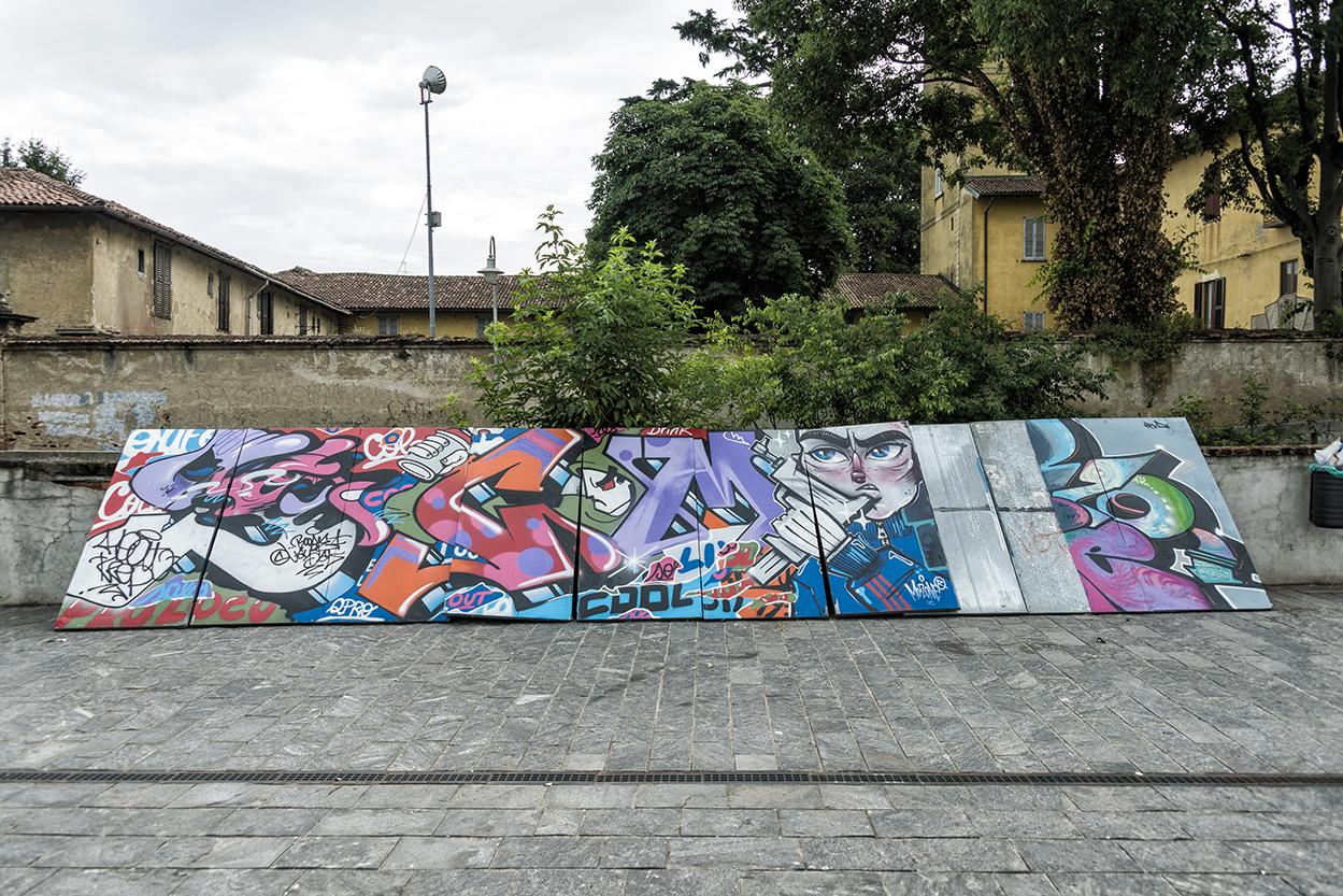 Work in progress: rubato murales realizzato nella live performance dell'8 giugno